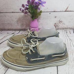 Sperry Top Sider Men's Boat shoe Tan Navy 12M